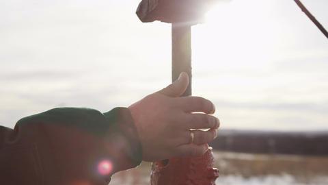 Closeup Worker Hand Holds Steel Vertical Equipment Footage