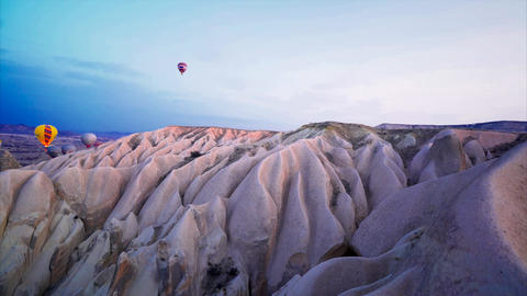 Hot air balloons flying in Cappadocia - Turkey - Aerial Shot Footage