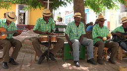 Trinidad, Cuba: Acoustic Traditional Music Group Busking in Plaza Footage