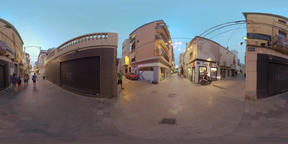 360 VR Evening street with shops and walking people, Barcelona Footage