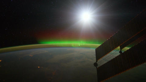 International Space Station ISS shot showing the Aurora Borealis Footage