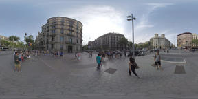 360 VR Barcelona view. Transport traffic and people on sidewalks in city centre Footage