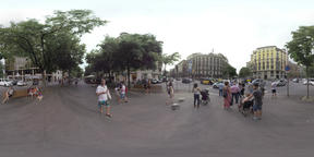 360 VR Car traffic and pedestrians crossing the road, Barcelona Footage