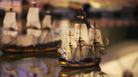 Two sailing ships on collision course Footage