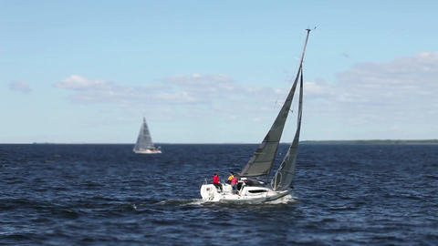 Sailboat goes to open sea Footage