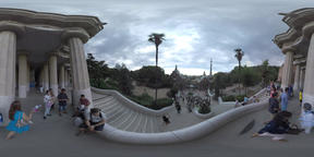 360 VR Tourists visiting Park Guell in Barcelona, Spain Footage