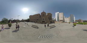 360 VR Barcelona cityscape with Royal Sanctuary of Saint Joseph of the Mountain Footage