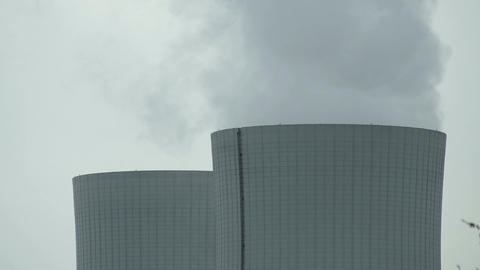 Cooling Tower Closeup on Cloudy Day Timelapse Footage