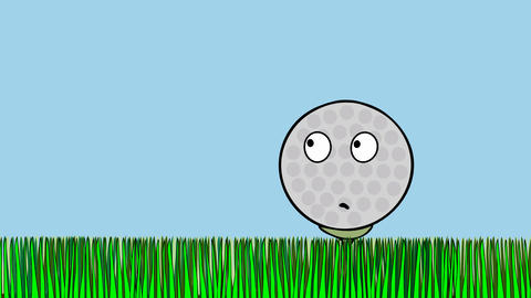 Frightened golf ball awaiting stroke 스톡 비디오 클립, 영상 소스, 스톡 4K 영상