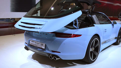 Porsche 911 Targa 4S sports car rear view Footage