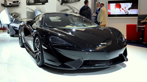 Black McLaren 570S sports car front view Footage