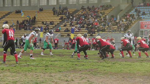 Active player saves ball from crossing team's goal line, American football match Footage