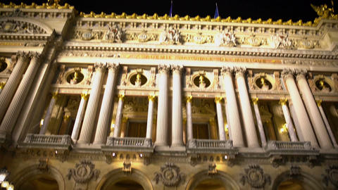 View on illuminated Academie Royale de Musique in Paris, night time, relaxation Footage