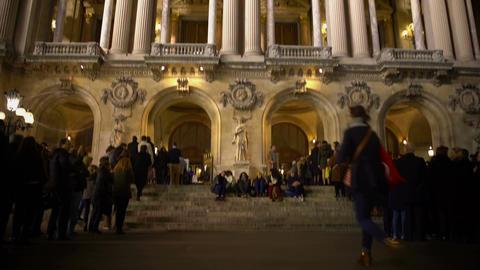 View on illuminated Academie Royale de Musique in Paris,... Stock Video Footage