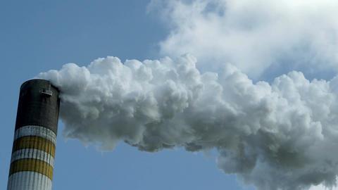 Industrial Smoke Stack Closeup Timelapse Footage