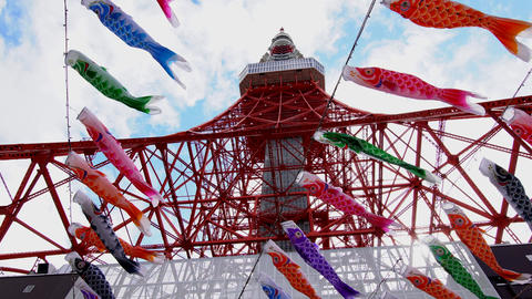 Tokyo tower and carp-shaped streamers ビデオ