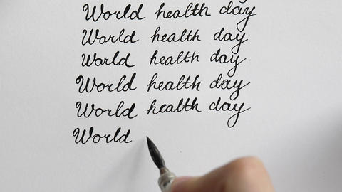 World health day calligraphy and lettering typographical design. Eighth line. To Footage