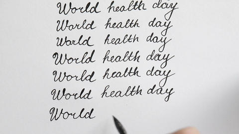 World health day calligraphy and lettering typographical design. Ninth line. Top Footage