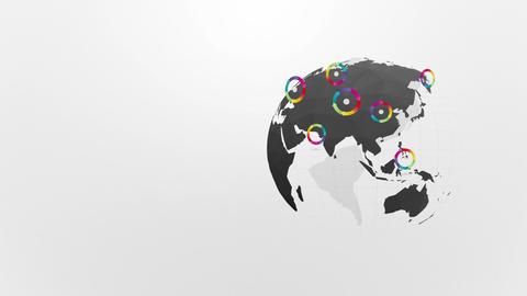 globe rotating with rainbow wheel of the arrows Animation