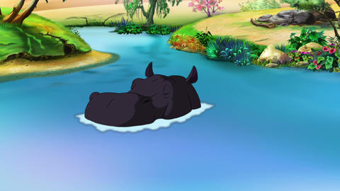 Big Black Hippopotamus Emerges from the Water Animation