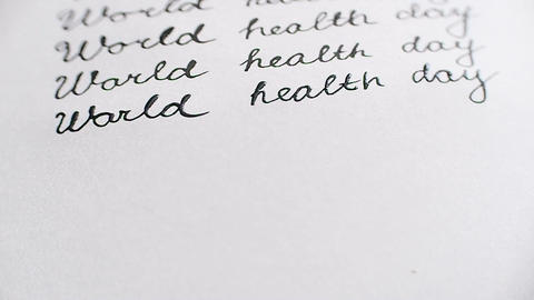 World health day calligraphy and lettering typographical design. Sixth line clos Footage