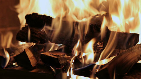 Fireplace burning. Warm cozy burning fire in a brick fireplace close up. Cozy ba Footage