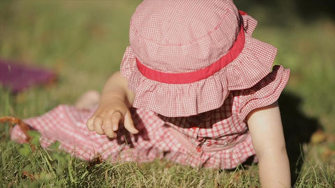Cute little girl having fun. Happy family have fun in backyard. Little baby have Live Action
