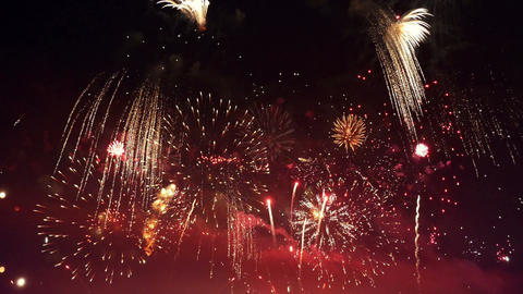 Video of happy new year fireworks in 4K Footage