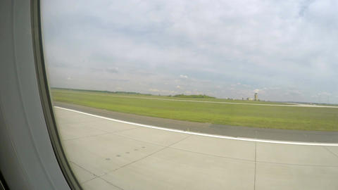Plane gaining speed on runway before takeoff, flight departure from airport Footage