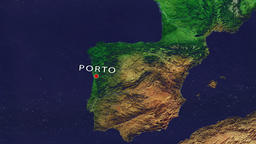 Porto - Portugal zoom in from space Animation