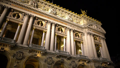 Beautiful antique architecture of Academie Royale de Musique in Paris, France Footage