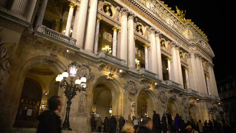 Crowd entering Opera National de Paris in the evening, waiting for performance Footage