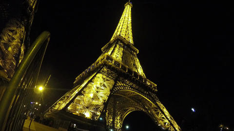 View on beautifully illuminated Eiffel Tower at night, sightseeing in Paris Footage