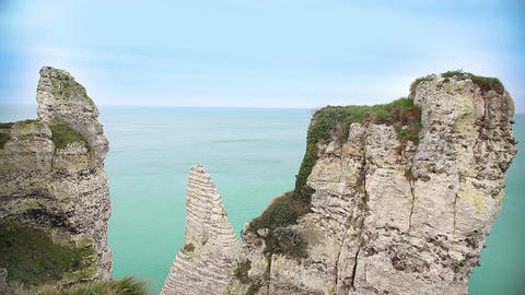 Relaxing view on cliffs above light blue sea, amazing nature, landscape Footage