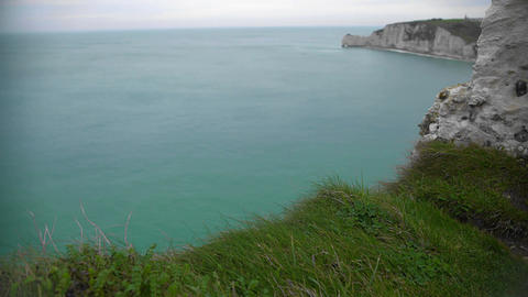 View on English Channel and rocky cliffs in Etretat, France, divine nature Footage