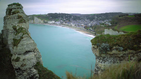 Aerial view of Etretat resort town in France, azure water, relaxing landscape Footage