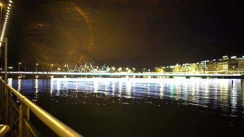 Evening Geneva city, beautiful view on lake and embankment, romantic scene Footage