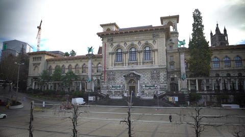 Historic building Palais de Rumine, University Library in Lausanne, Switzerland Footage