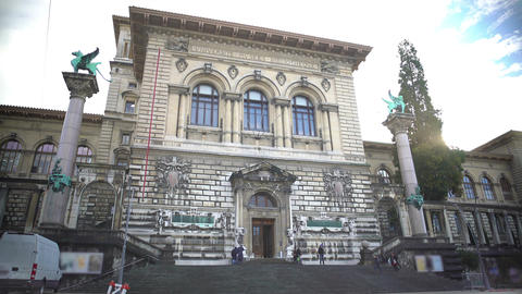 Facade of Palais de Rumine in Lausanne, entrance in old building, architecture Footage
