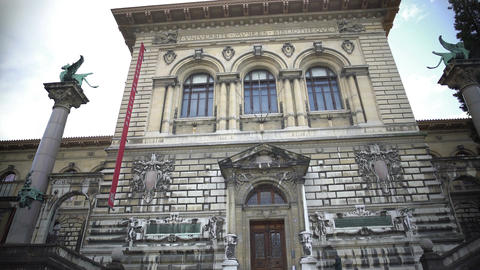 Panorama of Palais de Rumine, old building with library and museum in Lausanne Footage