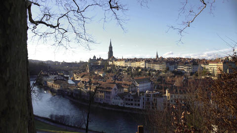 River and old European houses with red rooftops, winter cityscape, sightseeing Footage