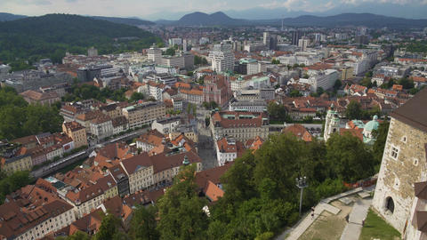 Slovenian capital city downtown, view from medieval Ljubljana Castle tower Footage