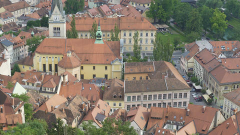 Beautiful old church in Ljubljana, nature and cultural heritage conservation Footage