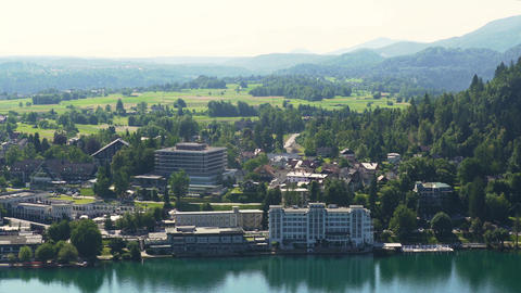 Beautiful lakeside town Bled in Slovenia, popular tourist resort, amazing nature Footage