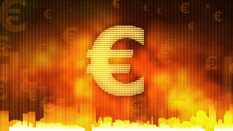 Euro sign pulsing on fiery background, money rules the world, greed, obsession Footage