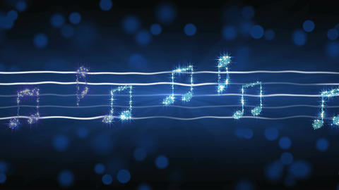 Shiny silver music notes moving on sheet, New Year celebration, karaoke song Footage