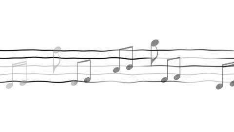 Music notes moving on sheet, composing app, karaoke, black and white background Footage