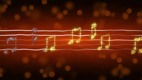 Glowing music notes moving on sheet, passionate love song, romantic background Footage