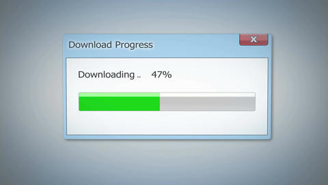 Dialog window with download progress, green status bar showing process completed Footage