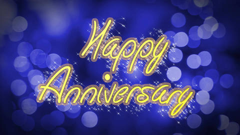 Happy Anniversary creative congratulation message, celebration, blue background Live Action